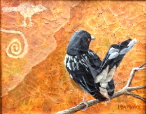 """Towhee with Petroglyph original acrylic on canvas ©lizamyers                    9"""" x 12""""           original available for sale $525 + shipping"""