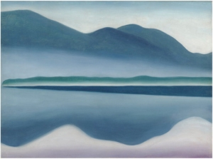 A misty morning on Lake George painted by Ms. O'Keeffe